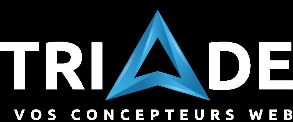 Logo de Triade avec une triangle en stylisé en bleu et texte blanc